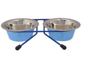 M-WDC-CC BLUE – Stand Stainless Steel Bowls For Dogs Petex