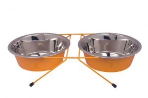 M-WDC-CC YELLOW Stand Stainless Steel Bowls For Dogs Petex