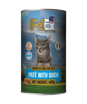 Canned whole foods for feeding cats with duck meat in a feta texture of 400 grams