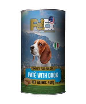 Canned whole foods for dogs with duck meat in a feta texture of 400 grams