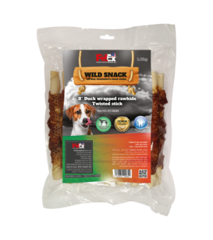 Economical packaging of large chewing sticks for a dog coated with 1 kg of dried duck meat
