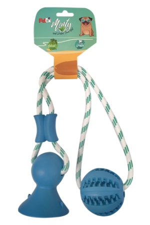 A dental rope game combined with a compressed rubber ball for the game of pulling and retrieving model ER071