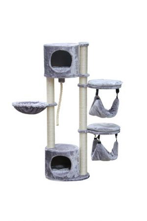 Luxurious and luxurious scratching device for cats from Petex in gray, model PS496, size 40X40X120 cm