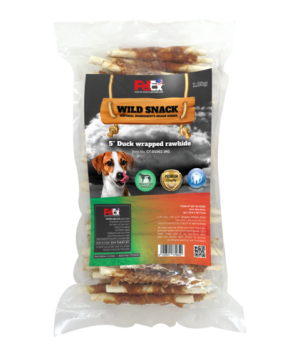 Economical packaging of selected chewing sticks for a dog coated with 1 kg of dried duck meat.