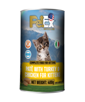 Canned whole foods for feeding kittens with chicken and turkey in a feta texture of 400 grams