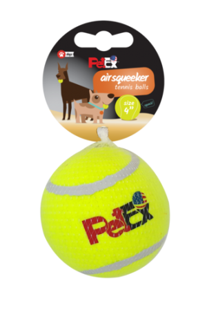 A squeaky tennis ball for a dog in a 4-inch (10.16 cm) mesh case