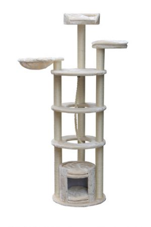 Prestigious and challenging scratching device for cats at all stages of life, model PS420, size 50X50X165 cm, latex
