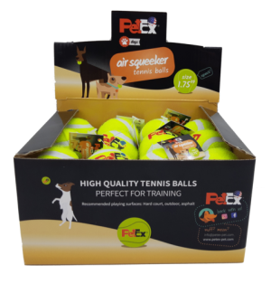 Tennis balls in a cardboard box of 24 units in a size of 1.75 inches