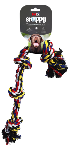 Dental rope game for a 4-knot dog, made of selected cotton fibers 70 cm long