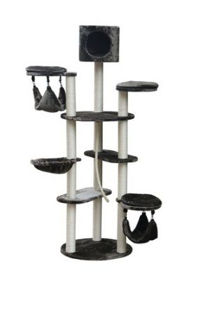 Luxurious and luxurious scratching device for a cat in gray color, model PS499, size 55X55X175 cm