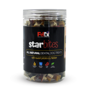 Dog teeth cleaning snack for dogs in the form of star bites, without grains and without gluten, 350 grams