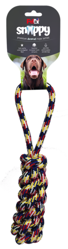 A rope game and a dental toy for the dog, a braided braid with a handle that is 33 cm long