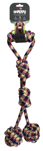 A toy and dental game for a dog with two compressed balls and a 59 cm long pull handle