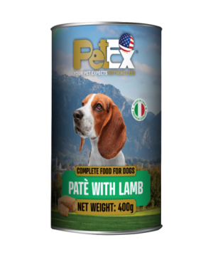 Canned whole foods for dogs with lamb in a 400 gram feta texture
