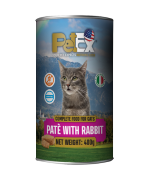 Canned whole foods for feeding cats with rabbit meat in a feta texture of 400 grams
