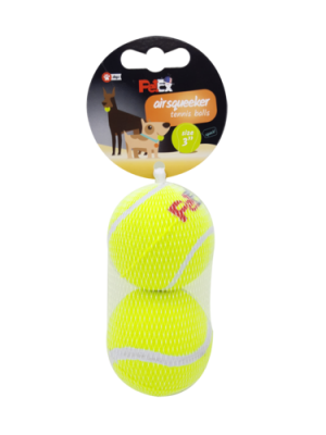 A pair of bouncing tennis balls for a dog in a cost-effective 3-inch mesh case (7.62 cm)