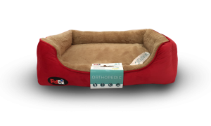 dog bed red with orthopedic mattress 110×70 cm