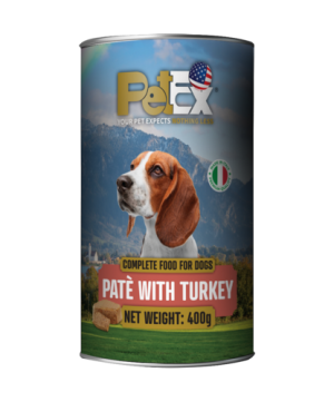 Canned whole foods for dogs with turkey meat in a feta texture of 400 grams