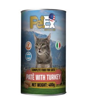 Canned whole foods for feeding cats with turkey meat in a 400 gram feta texture