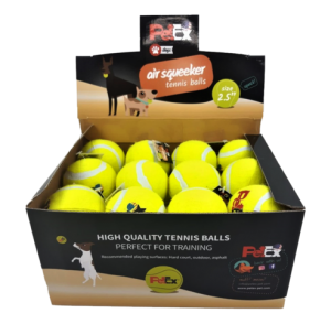 Tennis balls in a cardboard box of 24 units in a size of 2.5 inches