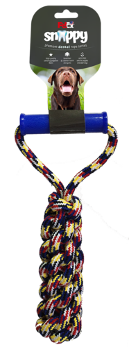 Dog rope game made of selected cotton fibers combined with a plastic handle for easy grip 30 cm