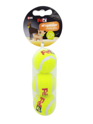 A trio of bouncing tennis balls for a dog in a cost-effective 2.5-inch (6.53 cm) mesh case