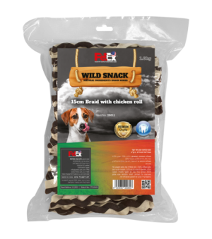 Chewable bones for a dog in the shape of braided braids and size 15 cm, weight 1 kg