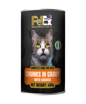 Canned whole foods for feeding cats with chunks of chicken in a juicy 405 g sauce